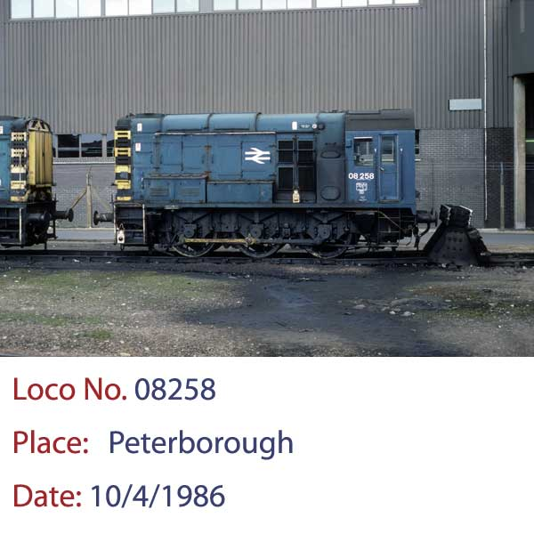 08258 Diesel Shunter at Peterborough 10 4 1986