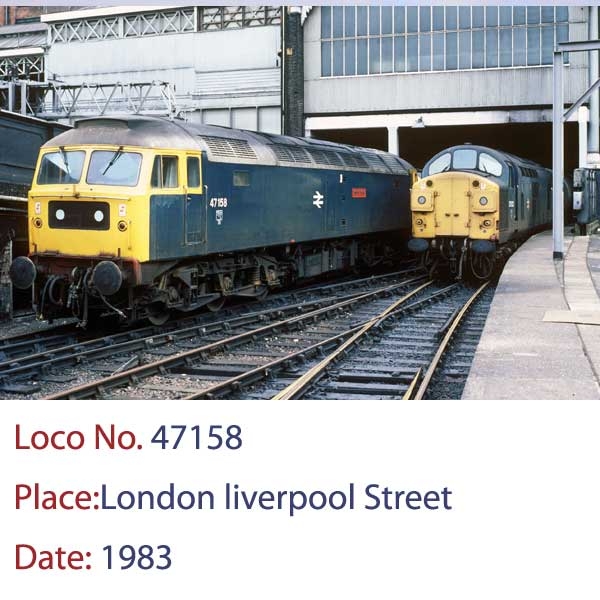 class 47158 at London Liverpool Street station